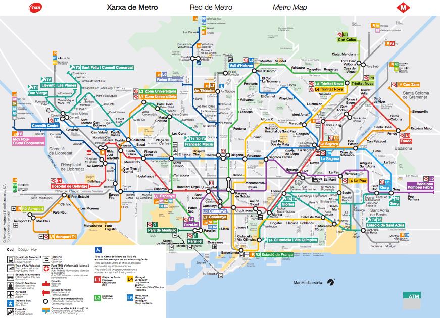mappa Metro Barcellona 2016