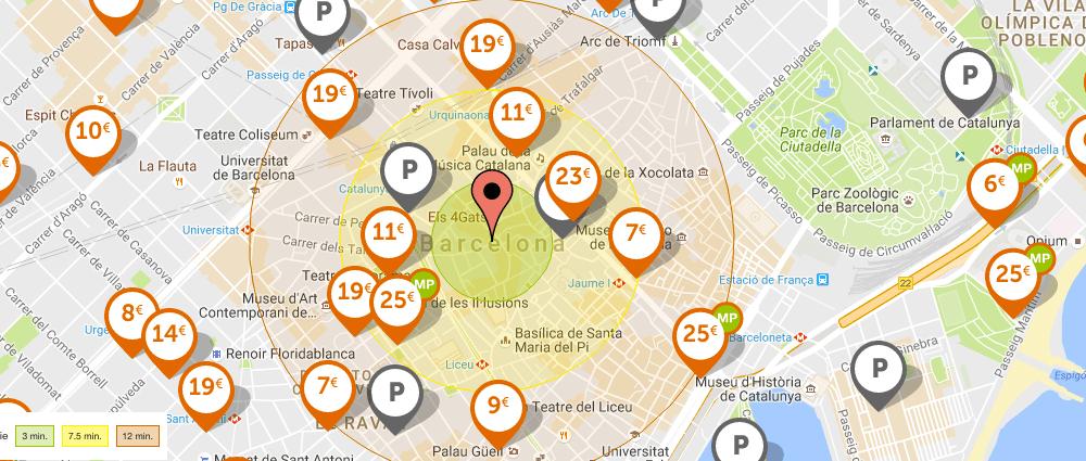 Mapa parcheggi Barcellona