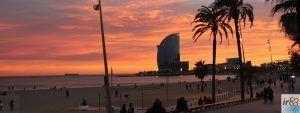 tramonto lungomare Barcellona