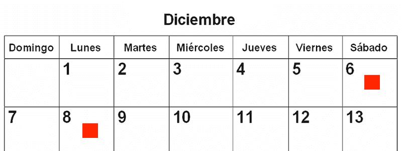 6 e 8 Dicembre