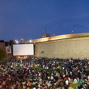 cinema all'aperto di notte